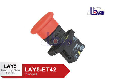 Red Push Pull Emergency Stop Push Button Switch 660V LAY5(XB2)-ET42